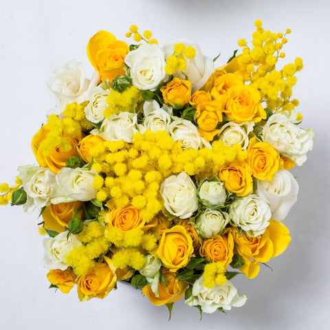 8 March Collection - Small Box - Rose Bianco Giallo Mimose - Scatola Bianca