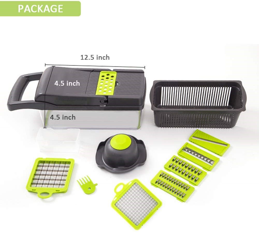 Multi Function 7-in-1 Vegetable Cutter & Mandoline Slicer with Interchangeable Stainless Steel Blades