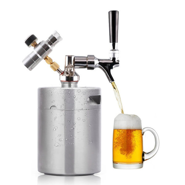 Portable Pressurized Keg Growler for Craft Dispenser System CO2 Adjustable Draft Beer Faucet with Perfect Pour Regulator | Kegerator Home Brew Maker | 64 oz 2L buy purchase for sale price review best comparison