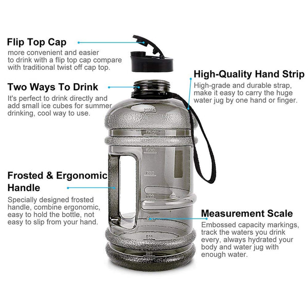 h2o bpa free plastic big giant large size water bottle gym body building training fitness with handle mouth