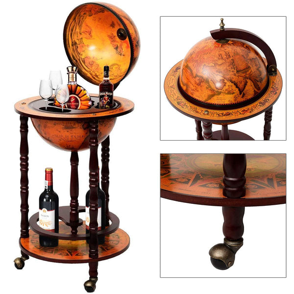 "Best Portable Moving 17"" Wood Globe Wine Liquor Bottle Shelf Bar Stand Rack with Wheels Storage Cabinet Container 16th Century Italian Wooden Design Buy Online Order Purchase Review Top Rated Amazon Best Buy Walmart Target On Sale Where to Buy"