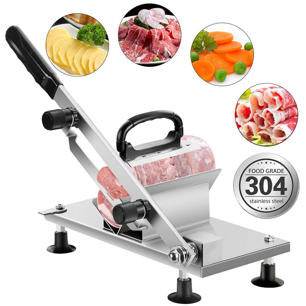 Heavy Duty 304 Stainless Steel Manual Frozen Meat Slicer | Meat & Vegetable Slicing Machine | Commercial & Home