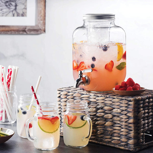 The Best Seller Mason Jar Glass Beverage Dispenser. Great fruit infuser for party and outdoor events. Leak proof with stainless steel spigot. Buy Now | Party Drink Dispensers Reviews for Best Price On Sale | Ships to USA Canada Worldwide Global Shipping | Purchase Order Amazon Best Buy Walmart Ebay Home Depot