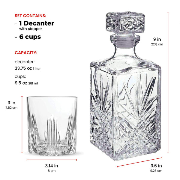 Italian Made 7-Piece Decanter Set - Whiskey Glass Lead Free Sophisticated Decanter with Beautiful Stopper and 6 Lovely Cocktail Glasses | Irish Scottish Whisky Drinkware Glassware Set, Elegant Whiskey Decanter with Ornate Stopper and 6 Exquisite Cocktail Glasses | Premium Class Style Liquor Vodka Vine Bar Set