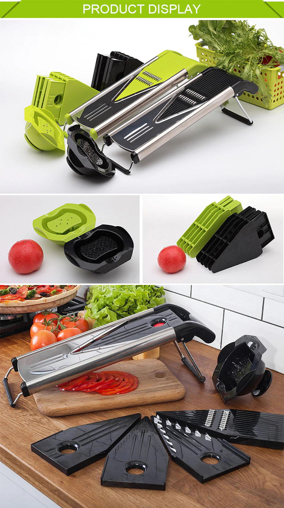 2019 German 304 Stainless Steel V Blades Multi Function Vegetable Cutter & Mandoline Slicer Adjustable Blades Onion Fruits Fries Tomato Cucumber Cheese Potato Fry Carrot Veggie Machine | Best Quality Mandoline Shredder| Vegetable Chopper Grater Salad Potato Chip Maker | Thin Thick Coarse Wave Strips Julienne Cut