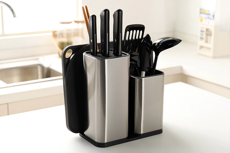 Universal Heavy Duty Professional Kitchen Knife Set Holder Box | Knives Storage Tool | Knife Organizer Bucket Case | Cutlery Knives Storage Utensils Organizer Set | Kitchen Knife Block | Chef Knife Drawers | Universal Knife Block with Slots for Scissors and Sharpening Rod Knife Holder Knives Storage - Knife Protector