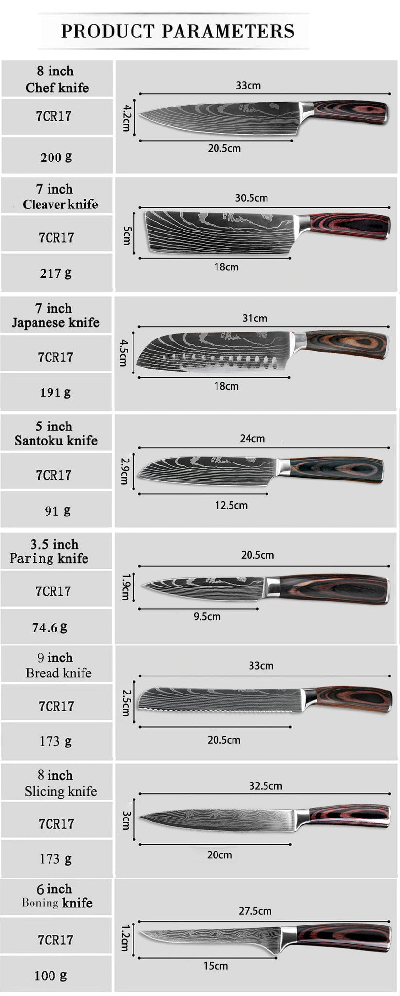 High Carbon 7CR17 Stainless Steel Professional Knife Set | Commercial, Home | Heavy Duty Traditional Japan Knives Complete Set | XITUO Damascus Chef Knife Set for Restaurant Use