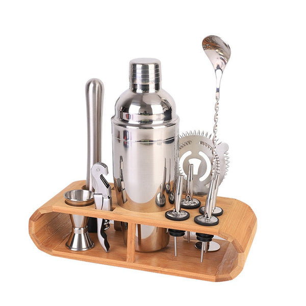 Heavy Duty Professional High Quality 304 Stainless Steel Bartender Kit with Bamboo Rack | Cocktail Shaker Set | Professional Bar Tools Set | Best Home and Bar Beverage Preparation Set | Cup, Muddler, Spoon, Jigger, Pourers, Bottle Opener, Martini Mojito Bartendering Kit | Buy Wine Liquor Vodka Serving Drink Mixing Kit Buy Order Online