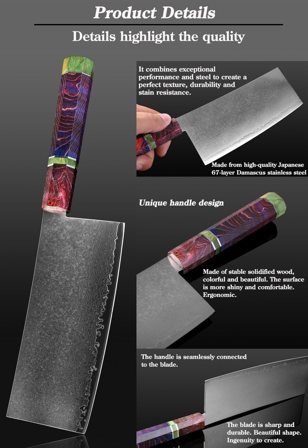 67 Layer Professional %100 Japanese Damascus Stainless Steel Professional 7 inch Cleaver Knife | Commercial, Home | Heavy Duty Traditional Japan Knives | Damascus Cleaver Knife for Restaurant Use | Best Kitchen Knife Set: Chef Knife Cleaver Santoku knife Paring knife Bread Slicing Boning Knife Razor Sharp Blade Buy Online
