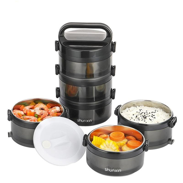 2019 New Multi-Layer Stainless Steel Vacuum Insulated Premium Portable Lunchbox for Adults & Kids & Students & Parents & Diets & Meal Preparation | Thermal Insulation Lunch Box Carrier Container Bento Box Travel Hiking Camping Picnics High Food Jar Capacity | 2-3 Tiers Detachtable On the Go Food Container with Handles