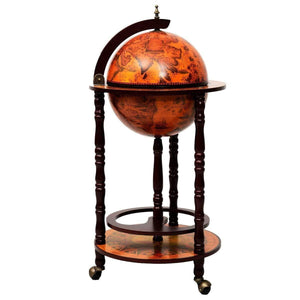 "13"" Wood Globe Wine Bar Stand 16th Century Italian Rack Liquor Bottle Shelf with Wheels-The H2O™ Water Bottles-The H2O™ Water Bottles - Buy Now Order For Sale Best Price Online Shop Purchase Review Amazon Walmart Best Buy Free Shipping"