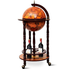 "Load image into Gallery viewer, 13"" Wood Globe Wine Bar Stand 16th Century Italian Rack Liquor Bottle Shelf with Wheels-The H2O™ Water Bottles-The H2O™ Water Bottles - Buy Now Order For Sale Best Price Online Shop Purchase Review Amazon Walmart Best Buy Free Shipping"