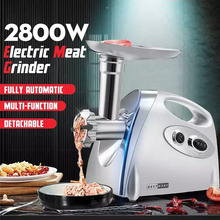 Load image into Gallery viewer, 2800W High Power Electric Meat Grinder Meat Mincer Sausage Grinder, High Quality Stainless Steel Cutting Blade, 3 Stainless Steel Grinding Plates, 3 Sausage Stuffer | Best Heavy Duty Professional Home Kitchen Household Use | Light Commercial Ground Beef Maker | Buy Order Online