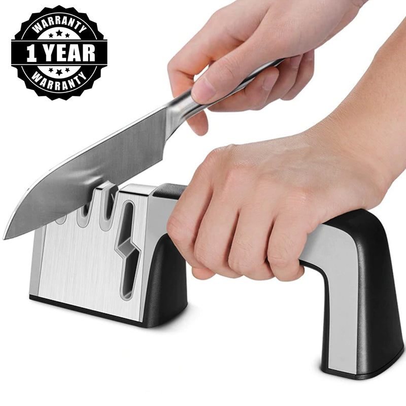 Professional 4-in-1 Heavy Duty Knife & Scissor Sharpener | 3 Stages Diamond-Tungsten-Ceramic Coated | Commercial & Home | Best Stainless Steel Knife Knives Sharpener Sharpening Tool Damascus Butcher Cleaver Chef Blade Precise Manual Multi Function Knife Sharpener | Kitchen Tool Knife Polishing | 5 Stars Reviews Buy