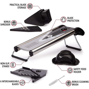 Multi Function V Blade 5-in-1 Stainless Steel Vegetable Cutter & Mandoline Slicer