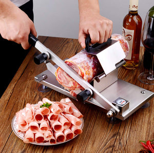 Professional Deli Slicing Tool for Frozen Meat Pastry Cheese Vegetable Potato Carrot Slicer Machine 304 Stainless Steel Manual Meat Bacon Pork Cutter Slicer | Meat & Vegetable Slicing Machine for Deli Restaurants | Commercial & Home | Beef Mutton Roll Cutting Slicers for Hot Pot Lover | Mozzarella Cheese Slicer