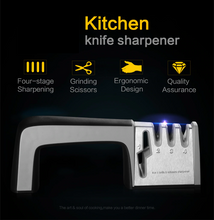 Load image into Gallery viewer, Professional 4-in-1 Heavy Duty Knife & Scissor Sharpener | 3 Stages Diamond-Tungsten-Ceramic Coated | Commercial & Home | Best Stainless Steel Knife Knives Sharpener Sharpening Tool Damascus Butcher Cleaver Chef Blade Precise Manual Multi Function Knife Sharpener | Kitchen Tool Knife Polishing | 5 Stars Reviews Buy