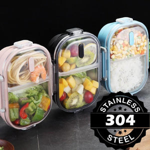Japanese Style Stainless Steel Bento Lunch Box & Food Container For Adults & Kids | 22 oz-The H2O™ Water Bottles-Blue-The H2O™ Water Bottles - Buy Now Order For Sale Best Price Online Shop Purchase Review Amazon Walmart Best Buy Free Shipping