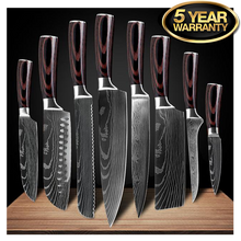 "Load image into Gallery viewer, High Carbon 7CR17 Stainless Steel Professional Knife Set | Commercial, Home | Heavy Duty Traditional Japan Knives Complete Set | XITUO Damascus Chef Knife Set for Restaurant Use | Best Kitchen Knife Set: 8"" Chef Knife Cleaver Japanese Santoku knife Paring knife Bread Slicing Boning Knife Razor Sharp Blade Buy Online"