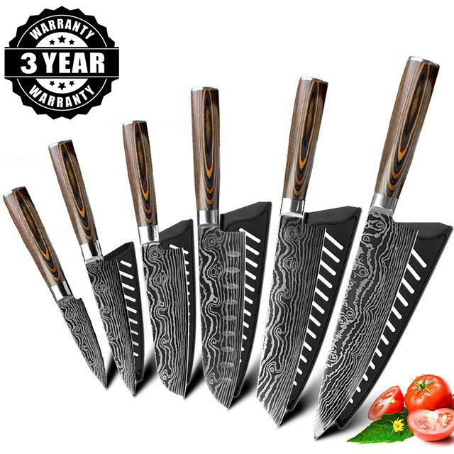 Japanese Ultra Sharp High Carbon 7CR17 Stainless Steel Professional Chef Knife Set | Commercial & Home