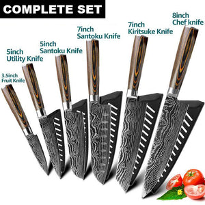 "High Carbon 7CR17 Professional Knife Set | Commercial Home | Heavy Duty Traditional Japan Knives Complete Set | Damascus Steel for Restaurant Use Best Sharpest Kitchen Knife Set 8"" Chef Knife Cleaver Japanese Santoku Fruit Utility Kiritsuke knife Paring knife Bread Meat Slicing Boning Knife Razor Sharp Blade Buy Online"