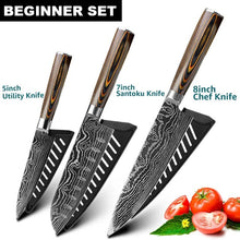 "Load image into Gallery viewer, High Carbon 7CR17 Professional Knife Set | Commercial Home | Heavy Duty Traditional Japan Knives Complete Set | Damascus Steel for Restaurant Use Best Sharpest Kitchen Knife Set 8"" Chef Knife Cleaver Japanese Santoku Fruit Utility Kiritsuke knife Paring knife Bread Meat Slicing Boning Knife Razor Sharp Blade Buy Online"