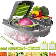 Load image into Gallery viewer, 2019 New High Quality German Blades Multi Function Vegetable Cutter & Mandoline Slicer Adjustable 301 Stainless Steel Blades Onion Fruits Fries Tomato Cucumber Cheese Potato Fry Carrot Veggie Machine | Best Quality Mandoline Shredder| Vegetable Chopper Grater Salad Potato Chip Maker | Thin Thick Coarse Wave Strips Cut Buy Online