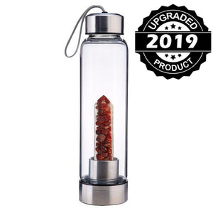 Natural Quartz Gemstone Infuser Water Bottle | New Little Crushed Crystal Stones-The H2O™ Water Bottles-Southern Red Agate-The H2O™ Water Bottles - Buy Now Order For Sale Best Price Online Shop Purchase Review Amazon Walmart Best Buy Free Shipping