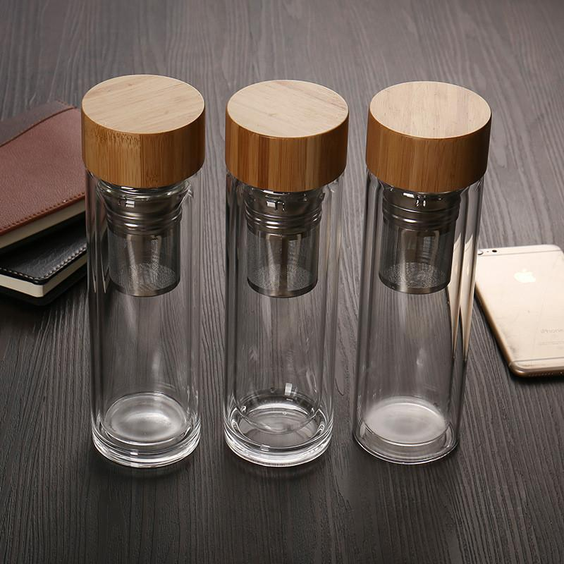 Portable Double Wall Glass Tea Infuser Travel Water Bottle