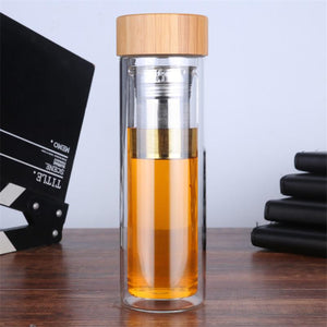 Portable Double Wall Glass Tea Infuser Bottle with Stainless Steel Filter | Travel Size Mug 15 oz-The H2O™ Water Bottles-The H2O™ Water Bottles - Buy Now Order For Sale Best Price Online Shop Purchase Review Amazon Walmart Best Buy Free Shipping