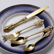 Load image into Gallery viewer, Vintage London Design 24 pieces Luxury Gold Plated Steel Dining Set | Vintage Western Gold Plated Cutlery 24 pcs Dining Knives Forks Spoons Teaspoons Set Golden Luxury Dinnerware Engraving Tableware Set | Complete Set Unique Design | Best Spoon Fork Teaspoon Set for Kitchen Home | Eating Utensils Dinner Serving Set
