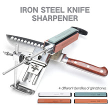 Load image into Gallery viewer, Heavy Duty Stainless Steel Professional Knife Sharpener With Built In 4 Whetstones | Commercial & Home | Kitchen Knife Sharpener Tool Knives Sharpening Kit | 304 Steel Chef Knife Sharpener with High Quality Natural Grit Wetstone Wet Stones Sharpening Stones System | Buy Best Knife Sharpener Online | Stone for Knives