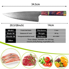 Load image into Gallery viewer, 67 Layer Professional %100 Japanese Damascus Stainless Steel Professional 8 inch Chef Knife | Commercial, Home | Heavy Duty Traditional Japan Knives | Damascus Chef Knife for Restaurant Use | Best Kitchen Knife Set: Chef Knife Cleaver Santoku knife Paring knife Bread Slicing Boning Knife Razor Sharp Blade Buy Online