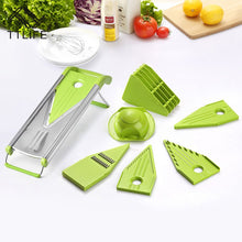 Load image into Gallery viewer, Multi Function V Blade 5-in-1 Stainless Steel Vegetable Cutter & Mandoline Slicer