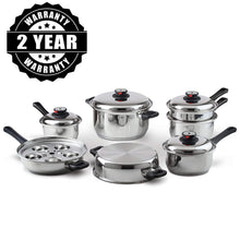 Load image into Gallery viewer, Heavy Duty Waterless Cookware Set, Steel Construction with Heat & Cold Resistant Handles, 17-Pieces-The H2O™ Water Bottles-The H2O™ Water Bottles - Buy Now Order For Sale Best Price Online Shop Purchase Review Amazon Walmart Best Buy Free Shipping