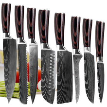 Load image into Gallery viewer, High Carbon 7CR17 Stainless Steel Professional Knife Set | Commercial, Home | Heavy Duty Traditional Japan Knives Complete Set | XITUO Damascus Chef Knife Set for Restaurant Use