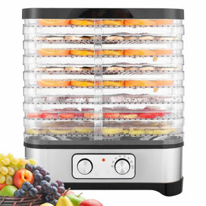 8-Tray Food Dehydrator Machine with Timer Electric Food Dryer Timer Temperature Settings for Jerky, Beef, Fruit, Vegetable | 400 Watt, BPA Free Home Commercial