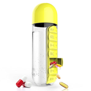 The H2O™ BPA Free Water Bottle With Daily Pill Organizer Box 20 oz-The H2O Water Bottles-Yellow-The H2O™ Water Bottles - Buy Now Order For Sale Best Price Online Shop Purchase Review Amazon Walmart Best Buy Free Shipping