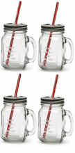 Load image into Gallery viewer, The H2O™ Country Series Glass Mason Jar Mug with Metal Lids and Straws, Set of 4, 15 oz-The H2O Water Bottles-The H2O™ Water Bottles - Buy Now Order For Sale Best Price Online Shop Purchase Review Amazon Walmart Best Buy Free Shipping