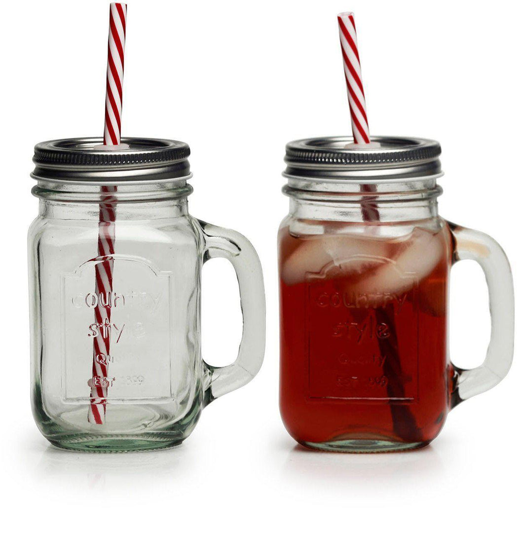 The H2O™ Country Series Glass Mason Jar Mug with Metal Lids and Straws, Set of 4, 15 oz-The H2O Water Bottles-The H2O™ Water Bottles - Buy Now Order For Sale Best Price Online Shop Purchase Review Amazon Walmart Best Buy Free Shipping