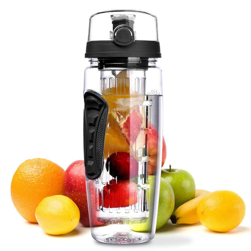 The H2O™ PLUS Easy Grip Fruit Infuser Water Bottle 32 oz-The H2O Water Bottles-Black-The H2O™ Water Bottles - Buy Now Order For Sale Best Price Online Shop Purchase Review Amazon Walmart Best Buy Free Shipping