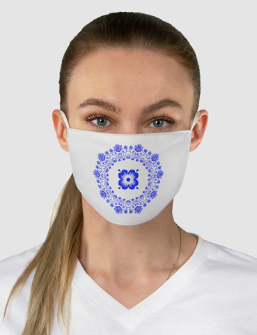 Floral Blue Circle Pattern | Fabric Face Mask