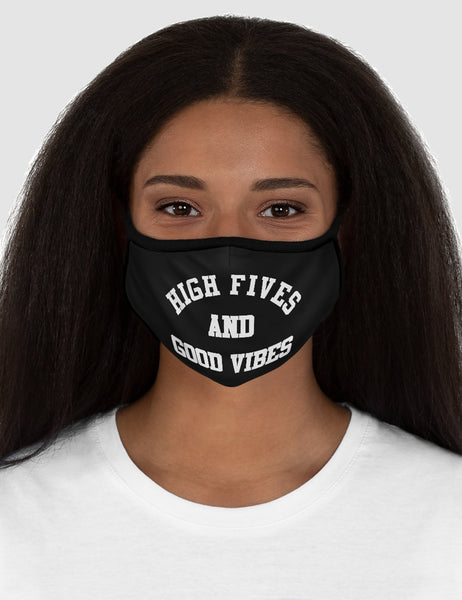 High Fives And Good Vibes Black Fitted Double Layered Polyester Face Mask - OniTakai