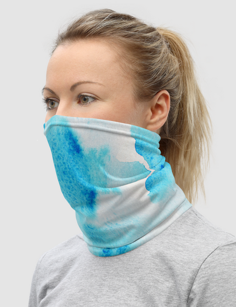 Abstract Blue Ice Tie Dye | Neck Gaiter Face Mask