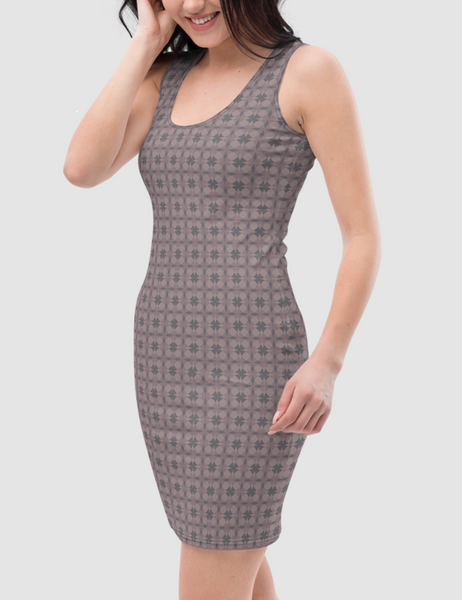 Abstract Quad Pattern | Women's Sleeveless Fitted Sublimated Dress