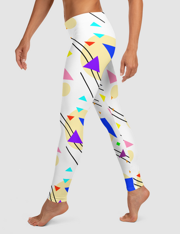 Abstract 90s Retro Geometric Party | Women's Standard Yoga Leggings