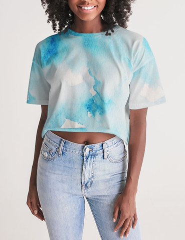 Abstract Blue Ice Tie Dye | Women's Oversized Crop Top T-Shirt