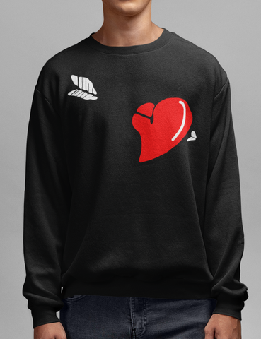 Arrow Through The Heart Black Crewneck Sweatshirt - OniTakai