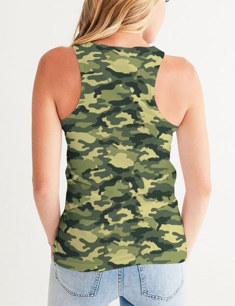 Green Military Camouflage Print | Women's Premium Fitted Tank Top