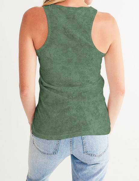 Grunge Army Green Matte | Women's Premium Fitted Tank Top